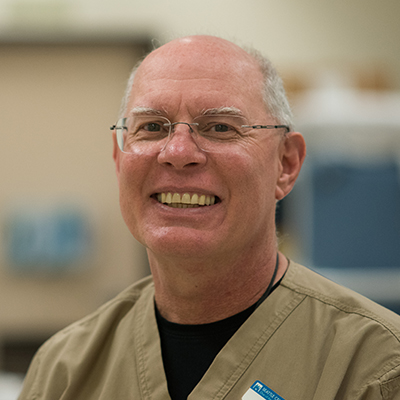 Mike Koegal, technician in the nursing lab